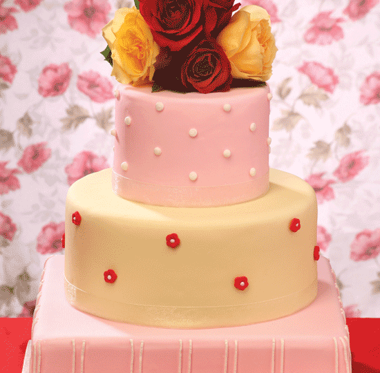 Two color fondant w/ flowers