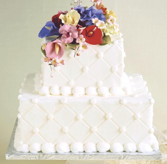 Square white cake w/ diamond etching & Bouquet topper