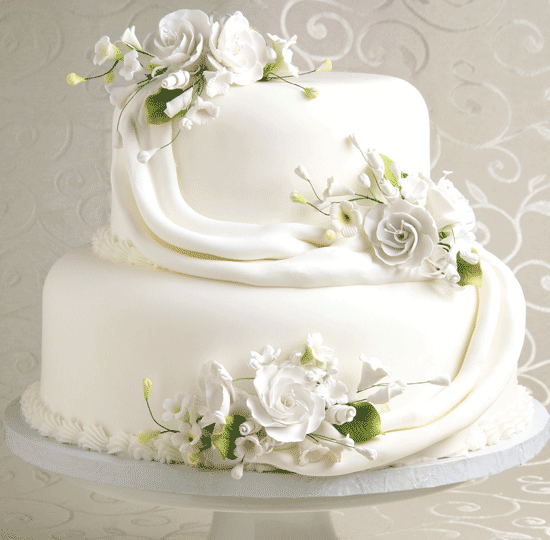Stacked White Cake w/ Draped Flowers