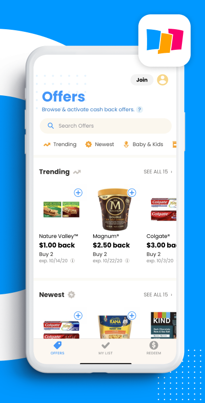 Coupons.com app showing offers on the phone screen