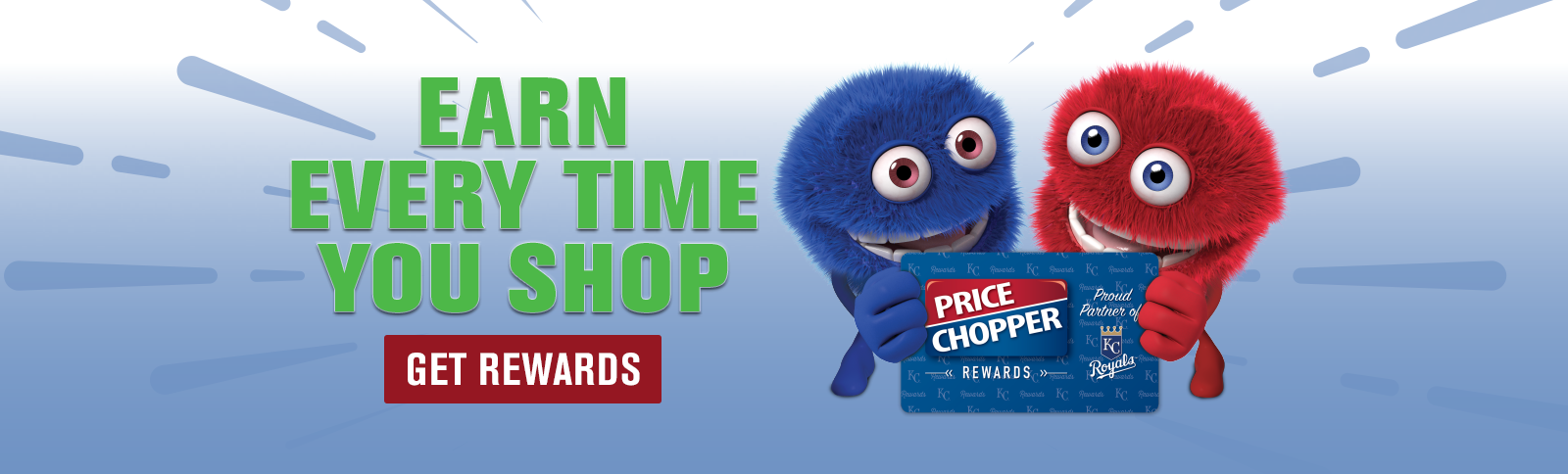Blue and Red Chomper holding a Price Chopper REWARDS card. Find out how to earn and redeem REWARDS.
