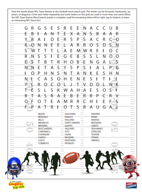 Click to download pdf of the NFL Word Search