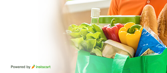 Groceries delivered in a reusable bag.