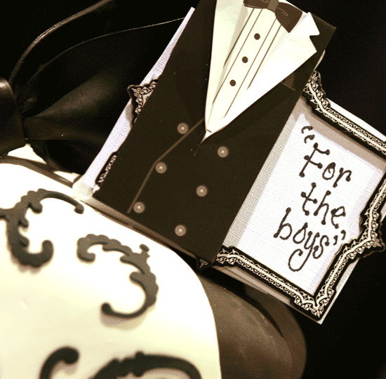 Black and White Grooms Cake