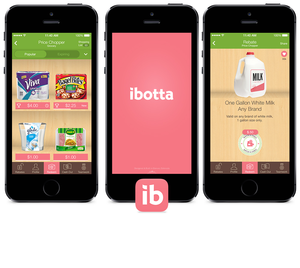 Three phones showing the Ibotta app at Price Chopper