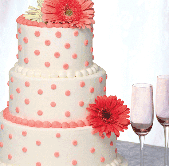 Wedding cakes catering floral services price chopper white cake w pink polka dots mightylinksfo