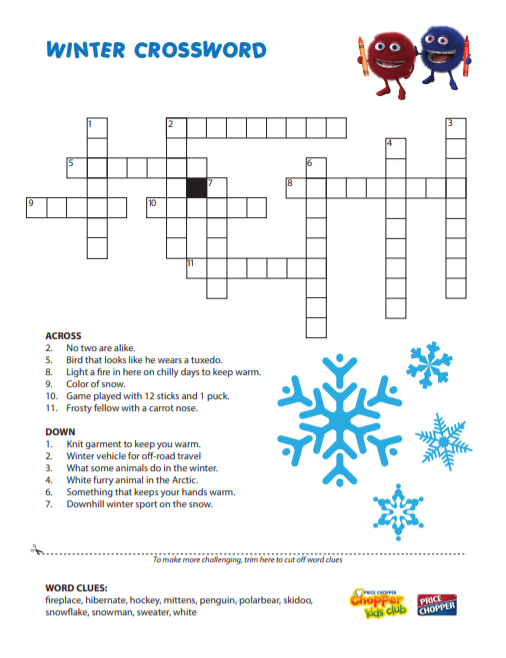 Click on Winter Crossword image to download PDF